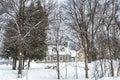 Snowy Winter scene stone house Royalty Free Stock Photo