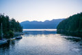Snug cove in the morning looking out over howe sound boats are moored bay Royalty Free Stock Photos