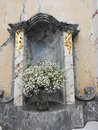 Soak white flowers in church, Lithuania Royalty Free Stock Photo