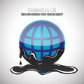 Soaked in oil vector illustration of a globe round symbol black thick Stock Photo
