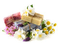 Soap bars with fresh flowers Royalty Free Stock Photos