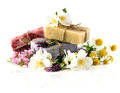 Soap bars with lavender, jasmine and chamomile flowers Royalty Free Stock Photos