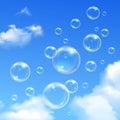 Soap Bubbles Blue Sky Realistic Background