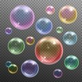 Soap Bubbles Realistic Transparent Royalty Free Stock Photo
