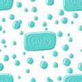 Soap with bubbles seamless pattern. Cartoon vector illustration. Hand drawn, sketch style, isolated on white background Royalty Free Stock Photo