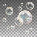 Soap Bubbles Vector. Rainbow Reflection Soap Bubbles. Aqua Wash. Illustration