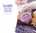 Soap and lavender flowers spa concept Royalty Free Stock Images