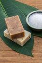 Soap salt bowl china on green leaves for health spa leaf Stock Images