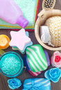 Soap and salt Royalty Free Stock Photo