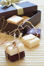Soap slices in gift box Stock Images