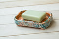 Soap in a soap dish slightly used bar of natural olive ceramic hand made Royalty Free Stock Photography