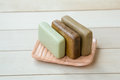 Soap in a soap dish three slightly used bars of natural olive ceramic hand made Royalty Free Stock Photos