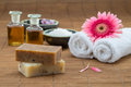 Soap, water bowl china , essential oil, towel for health spa Royalty Free Stock Photo