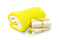 Soap white with chamomile and towels Royalty Free Stock Photo