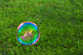 Soapbubble on green natural background. Royalty Free Stock Photo