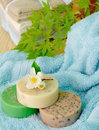 Soaps and towels in Peaceful Spa Setting Stock Photos