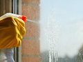 Soapy jet from spray bottle on window glass cleaning solution Royalty Free Stock Image