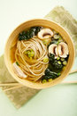 Soba Noodle and Kale Soup Stock Photography