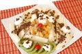 Sobremesa com fruta fresca e creme chicoteado. Fotos de Stock Royalty Free