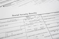 Soc sec benefits closeup of a social security form Stock Photos