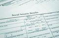 Soc sec benefits closeup of a social security form Stock Images