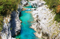 Soca river slovenia view of in europe Stock Photos