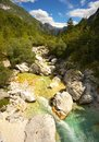 Soca river, Triglav National Park, Slovenia Royalty Free Stock Photo
