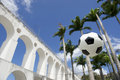 Socccer ball football lapa rio de janeiro brazil soccer at arcos da arches Stock Photo