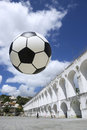 Socccer ball football rio de janeiro brazil soccer at lapa arches Royalty Free Stock Photos