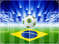 Soccer background ball stadium field layout field top view flag of brazil bright spotlights Royalty Free Stock Photography