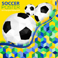 Soccer background with balls and mosaic pattern in color flag brazil vector Stock Photo