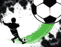 Soccer Background With Boy Shooting Royalty Free Stock Image