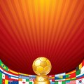 Soccer background cup with flag of national teams golden and flags ready for your text and design Royalty Free Stock Image