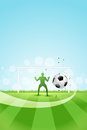 Soccer background with goalkeeper and ball original vector illustration sports series classical football poster Royalty Free Stock Images