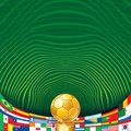 Soccer background with golden cup and flags ready for your text design Stock Photo