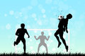 Soccer background with three players original vector illustration sports series classical football poster Stock Image