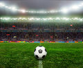 Soccer bal football on the stadium abstract or backgrounds Royalty Free Stock Images