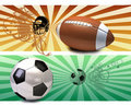 Soccer ball and american football Royalty Free Stock Photo