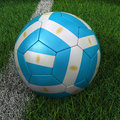 Soccer ball with argentinian flag d argentina on green field Royalty Free Stock Image