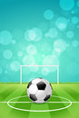 Soccer ball background on with grass and gridiron Stock Photography