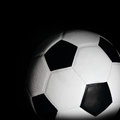 Soccer ball in black Stock Photos