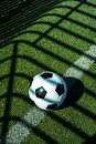 Soccer ball black and white on artificial ground ground with shadows stripes, on the line Royalty Free Stock Photo