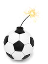 Soccer ball bomb with burning wick on white Royalty Free Stock Photo