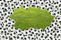 Soccer ball border over green grass Stock Photos