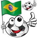 Soccer ball cartoon with brazilian flag Royalty Free Stock Image