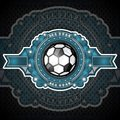 Soccer ball in center of blue banner with gold pattern. Sport logo for any football team or competition all star