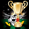 Soccer ball with the champion cup. Vector. Royalty Free Stock Image