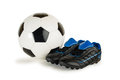 Soccer ball children soccer shoes isolated white Stock Photo