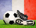 Soccer ball and cleats Royalty Free Stock Photo