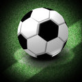Soccer ball with clipping paths illustration of a lying on the center of the game field Stock Images